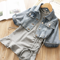 fall girl denim jacket baby clothes sets coats with dress fashion korean boutiques children clothing autumn spring