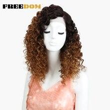 Özgürlük Afro Kinky kıvırcık peruk siyah kadınlar için isıya dayanıklı dantel ön peruk Ombre kahverengi karamel rengi yüksek sıcaklık