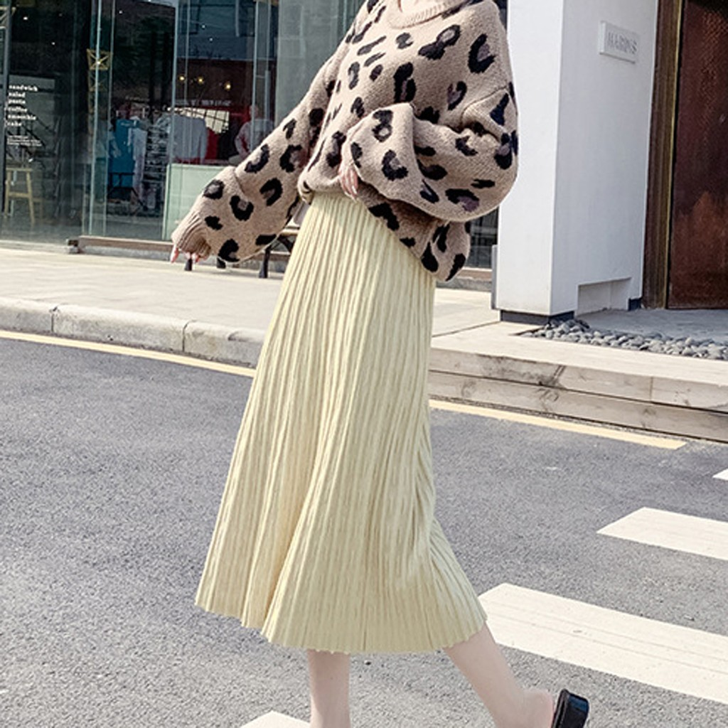 JAYCOSIN Women Knitting Skirt Winter  Fashion Lady Elegant Pure Color Pleated Skirt Long Skirt Korean Style Elegant Female 114