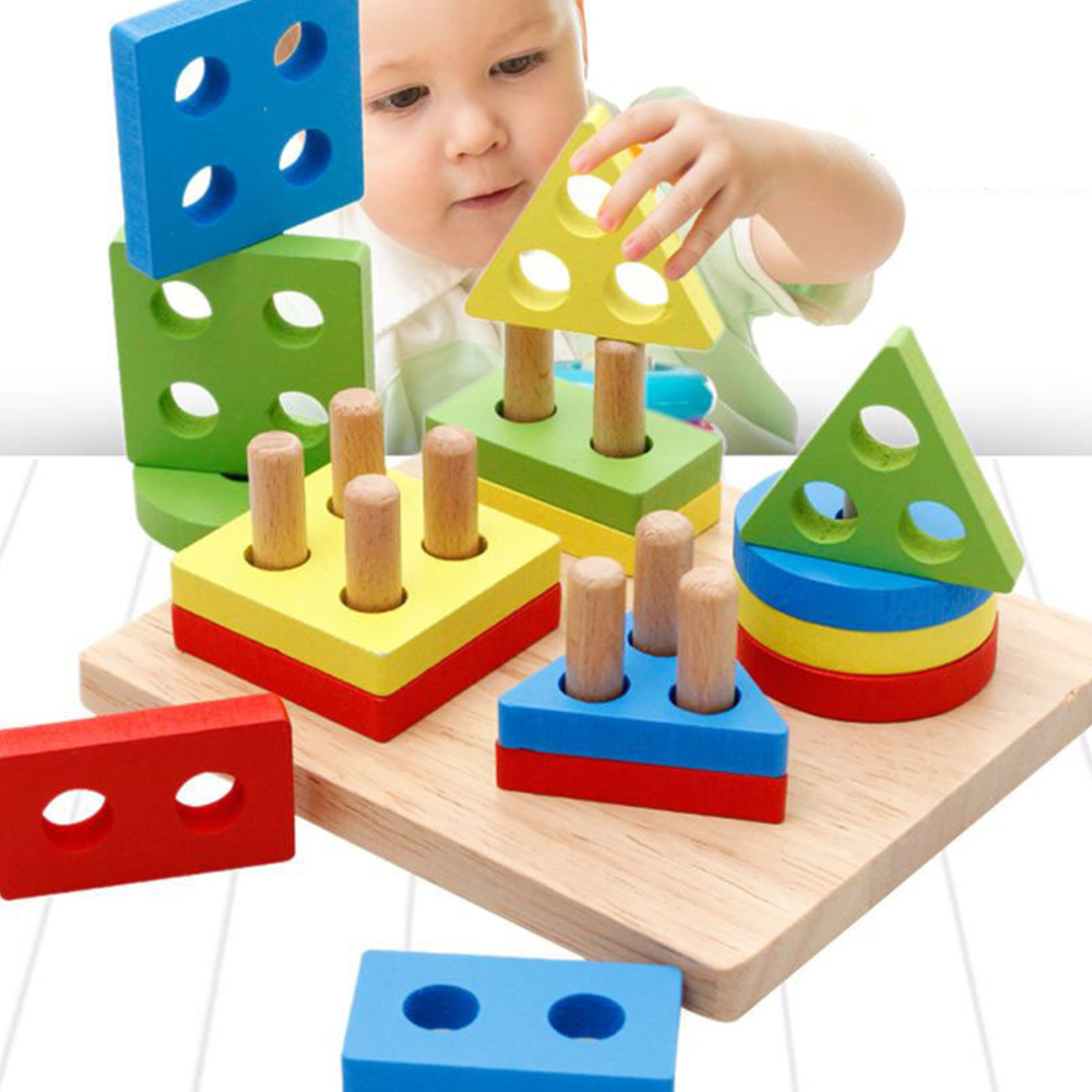 Baby Diy Toys Learning Wooden Pole Geometry Shape Intelligence Math Educational Toys For Children Kids Dropshipping
