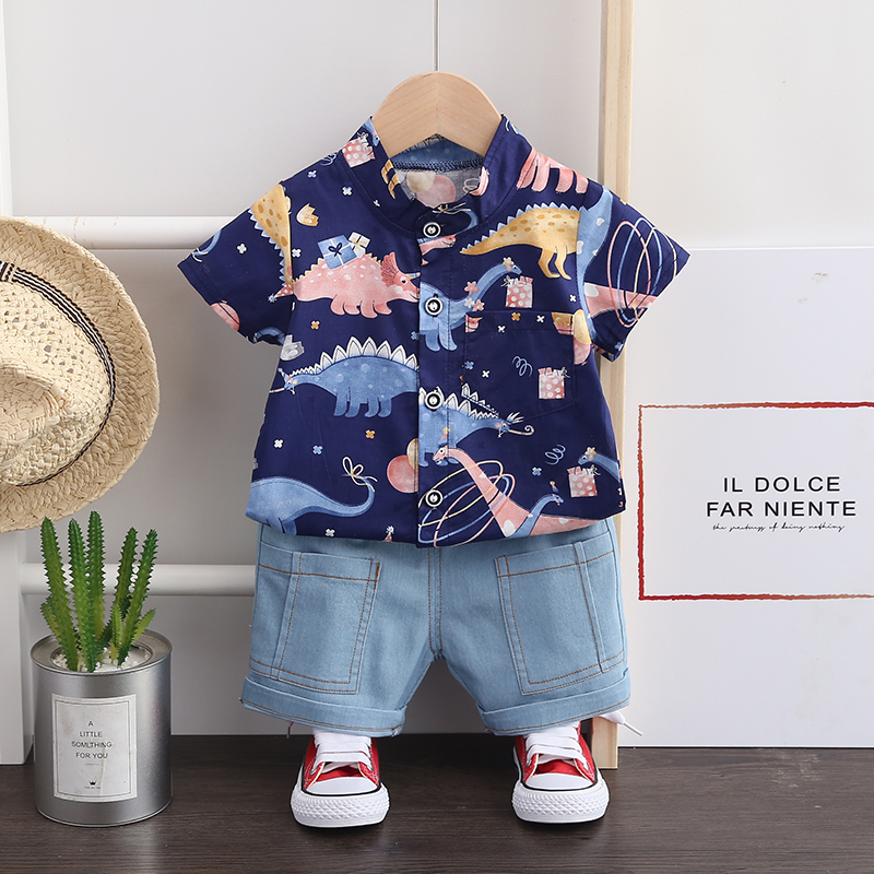 Toddler Baby Boys Clothes Sets Summer Cartoon Dinosaur Print Shirt and Short Jeans Set for Infant Costume 1 2 3 4 Years 1