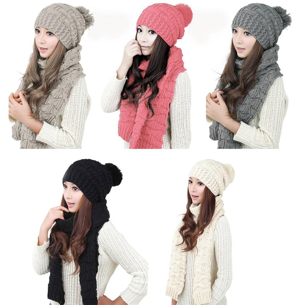 New Fashion Warm Autumn And Winter Wool Scarf For Women Thicken Warm Knitted Hat Wool Scarf + Warm Hat Set 2016 Hot Sale