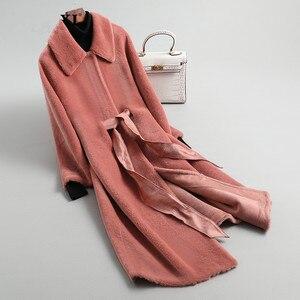 Image 4 - AYUNSUE Real Fur Coat Female Sheep Shearling Winter Jacket Women 100% Wool Coat Women Korean Long Jackets Manteau Femme KL 1912