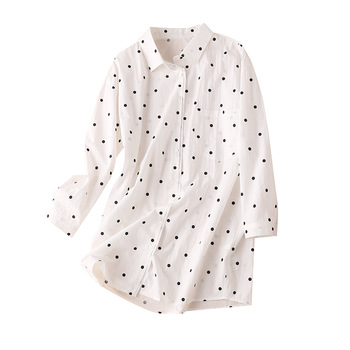 COTTON  Polka Dot Long Shirt Women Turn-down Collar Casual Blusas Manga Longa Feminina 2020 Autumn Lovely Womens Blouses