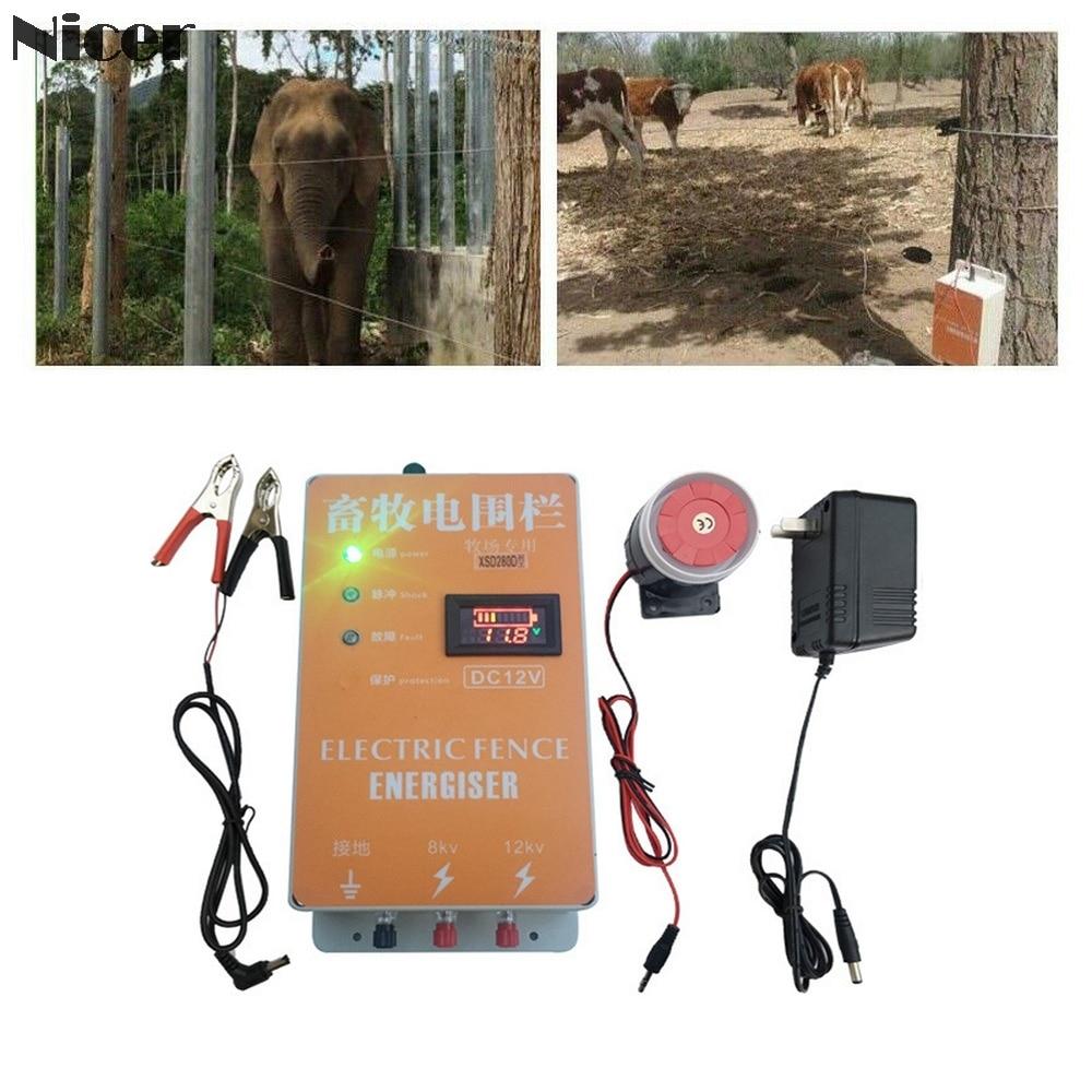 Clôture électrique solaire | Clôture électrique pour animaux, chargeur dynamisant, contrôleur d'impulsions à haute tension, volaille ferme clôture électrique, isolateurs