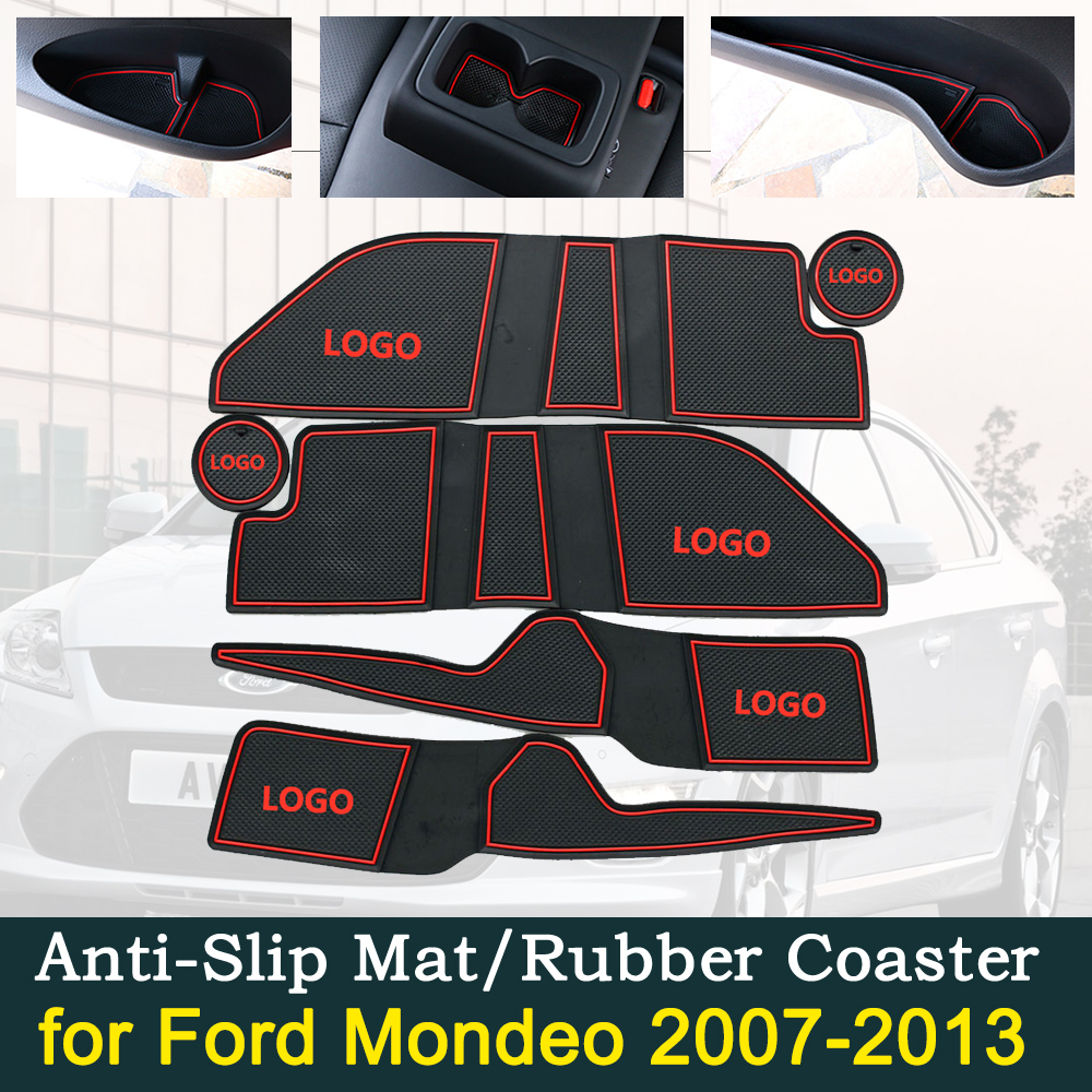 Anti-slip Door Rubber Cup Cushion for Ford Mondeo MK4 2007 2013 2008 2009 2010 2011 2012 Groove Mat Car Interior Accessories