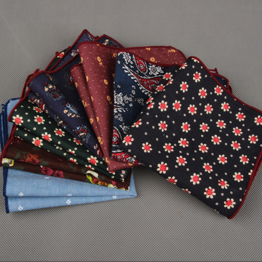 RBOCOTT Mens Printed Hankerchief Cotton Floral & Paisley Pocket Squares Solid Hanky Business Towel Wedding Party Accessory