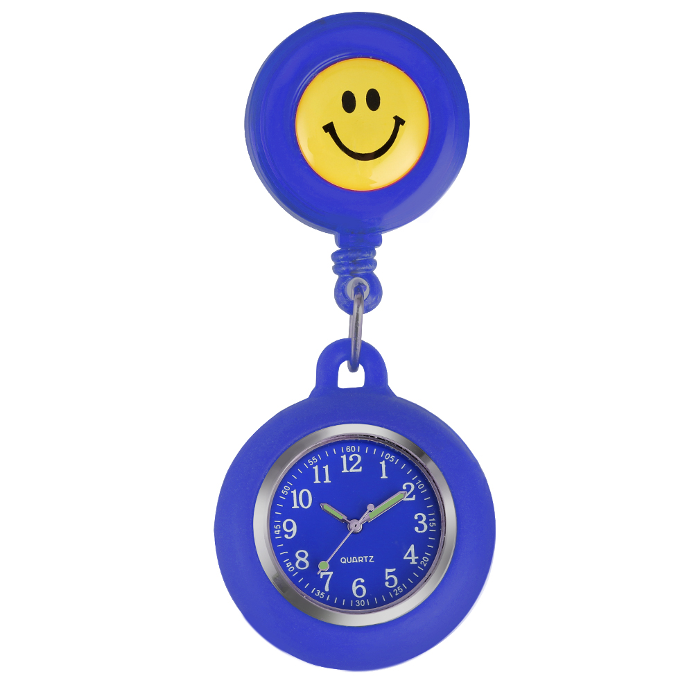 Fashion Nurse Pocket Watch Nurses Silicone Cover Luminous Pointers Doctor Pendant Watch Smile Clock Reloj Enfermera