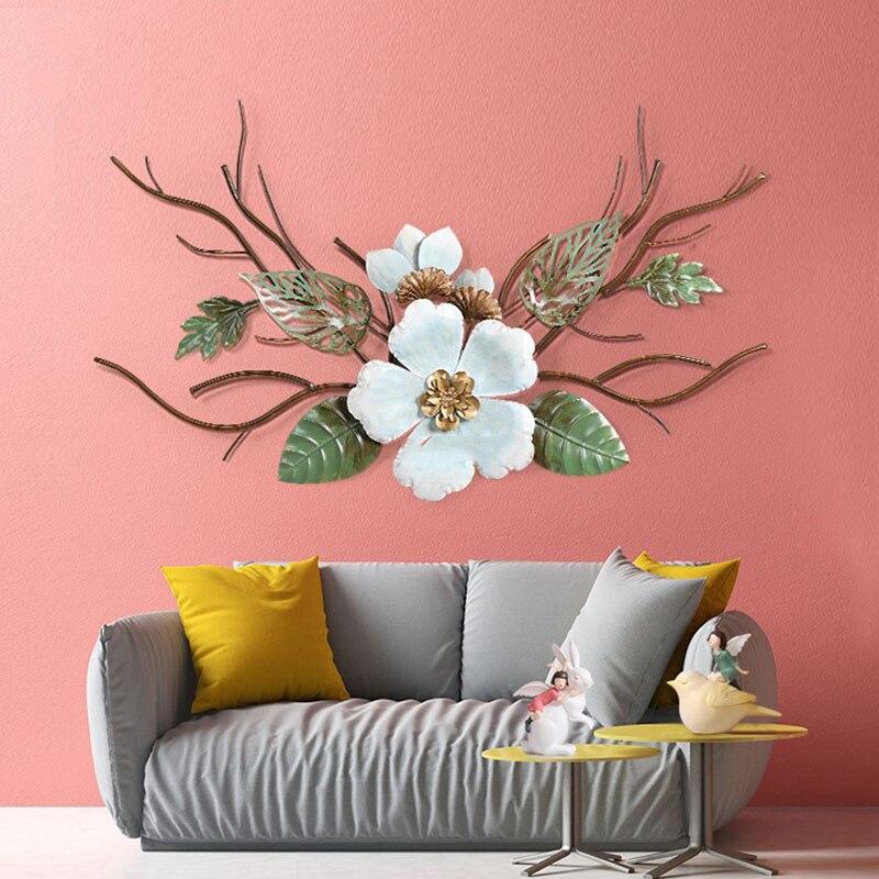 Современный изготовленный из кованого железа цветок Настенное подвесное украшение отель крыльцо 3D стерео рисунок Наклейка на стену ремесл