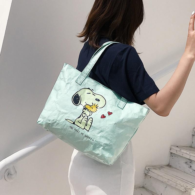 PUBGS Women Shoulder Handbags 2019 NEW Kraft Paper Shopping Bags Waterproof Washable Tear-resistant