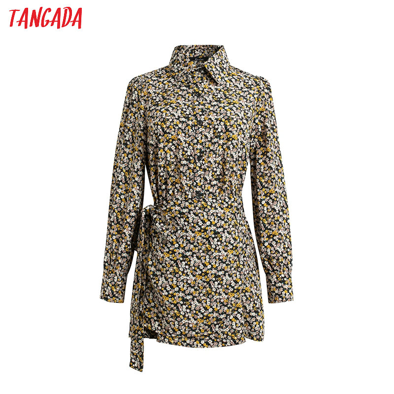 Tangada 2020 Spring Women Slim Wrap Dress With Slash Long Sleeve Ladies High Street Dress Vestidos 4T19