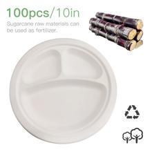 100 шт/партия одноразовая бумажная тарелка торт перегородка экологический термостакан сайт целлюлоза сахарного тростника тарелки благородный 10 дюймов