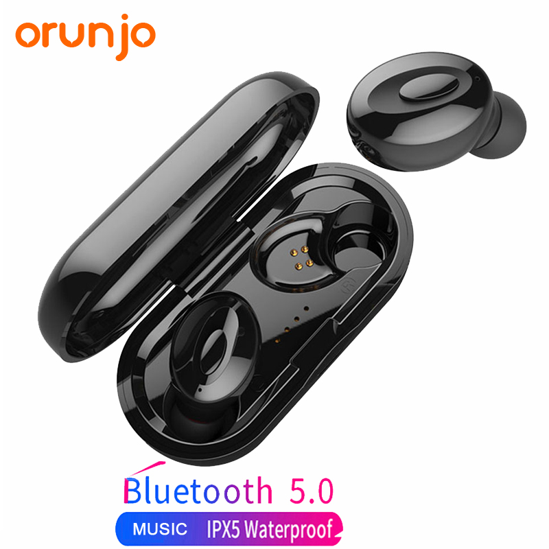 Orunjo XG-<font><b>15</b></font> <font><b>TWS</b></font> Bluetooth Earphone Sport Waterproof IPX5 In-Ear Wireless Headset Bass Stereo With Microphone Earbuds image