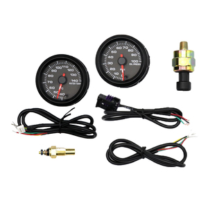12V Car Water Temp Meter/Oil Pressure Gauge w Sensor + 7 Adjustable Back Colors