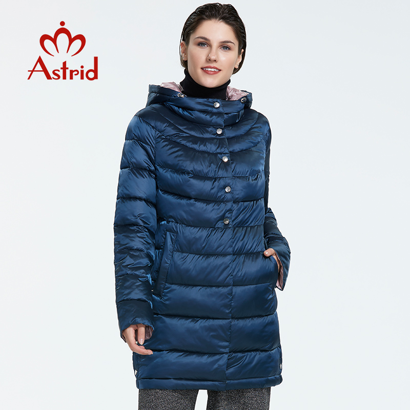Astrid 2019 Autumn New Arrival Plus Size Mid-length Style Park With A Hood Dark-colored Warm Jackets Women FR-2217