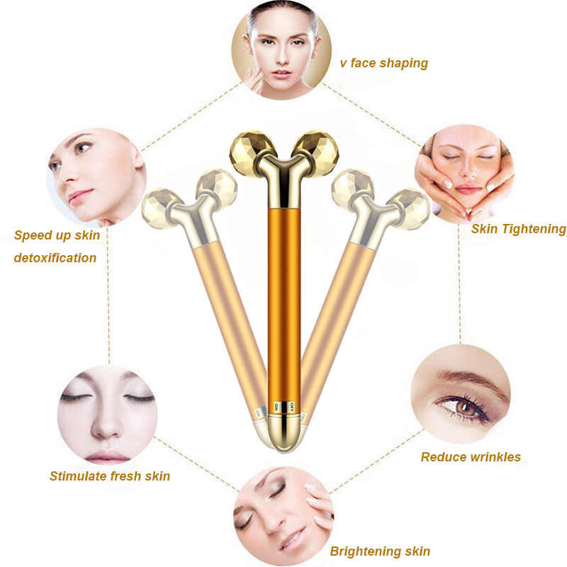 24k الذهب سبيكة الجمال الطاقة مجموعة ثلاثية الأبعاد وجه مُدلك بالاهتزاز مدلك الوجه مكافحة الشيخوخة الجلد تشديد شركة الأسطوانة تقليل الذقن المزدوج