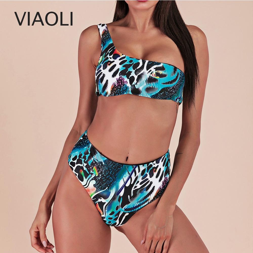 Sexy Print Bandage Bikinis Women One Shoulder Bathing Suit Swimwear High Waist Swimsuit Tube Top Female Summer Girls Beachwear
