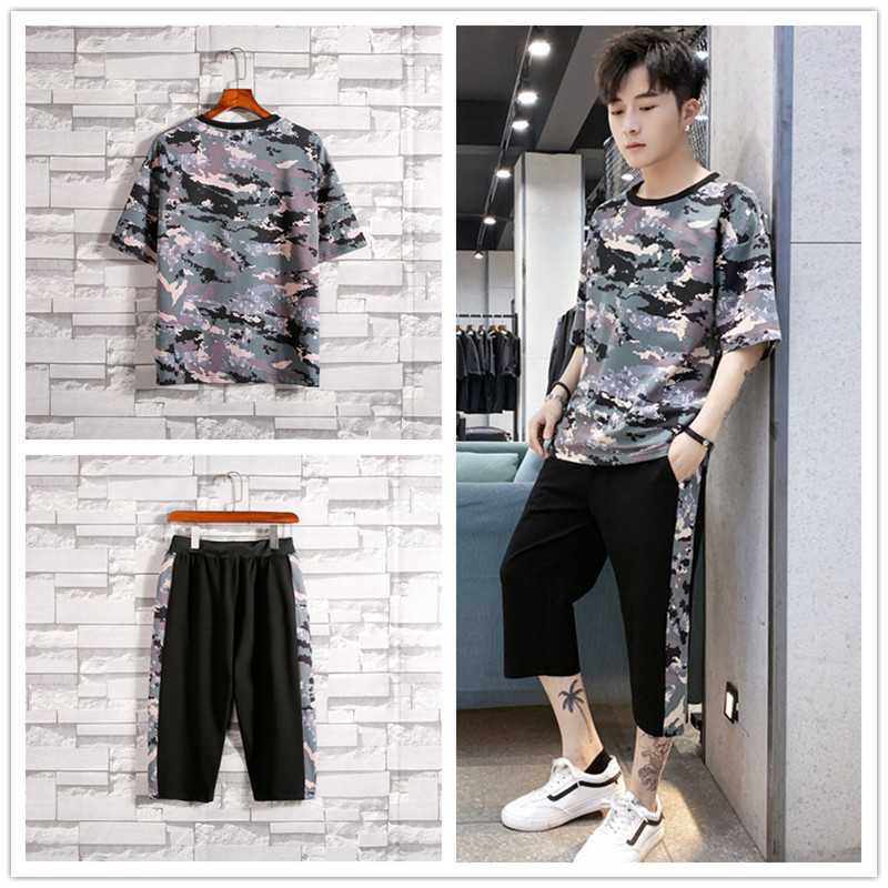 2019 Summer New Products Men Trend Loose And Plus-sized Fashion Printed Camouflage T-shirt Hip Hop Capri Shorts Set