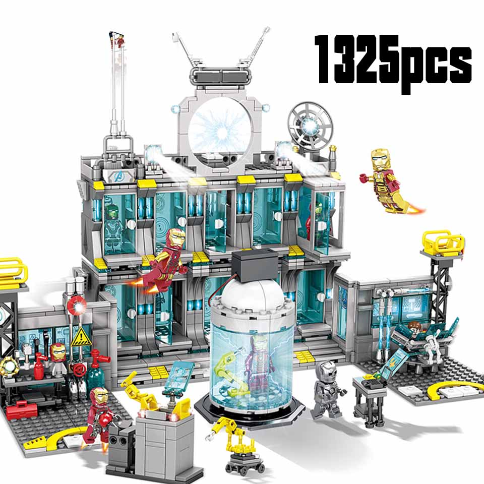 Marvel Avengers 4 Iron Man Base 76107 76108 76123 76125 76126 76131 Block Set Compatible Legoinglys Building Brick Toy Kids