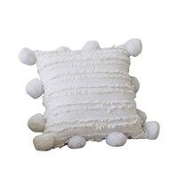 Solid Cushion Cover Floral Tassels Square Pillow Case White Yellow Grey Pillow Cover 45X45cm Home Decoration Sofa 18 Inch Pompom w Poszewka na poduszkę od Dom i ogród na