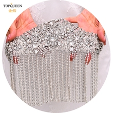 TOPQUEEN SP36 Rhinestone Flowers Stickers on Clothes Embellishment 3d Scrapbooking Applications on Fabric Epaulette Chain Tassel