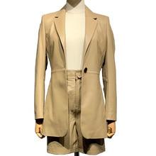 Echtem Leder Blazer Spiel mit Shorts Damen Echte Schafe Leder Jacke Büro Dame Outwear