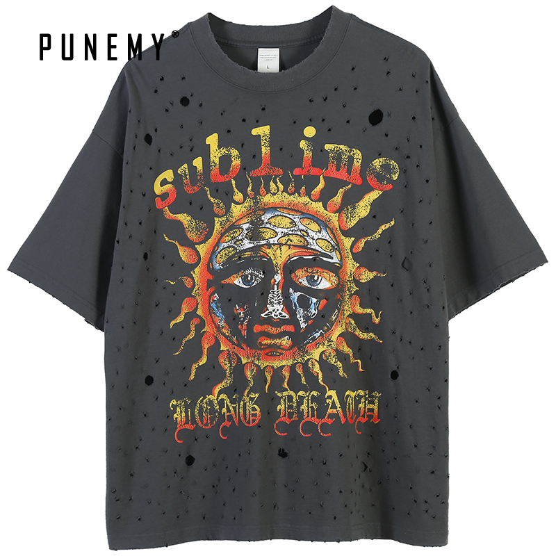 T Shirt Men Hip Hop Pure Cotton Streetwear Retro Frayed Holes Helios Pattern 2020 Spring New Oversize Harajuku Men's T Shirt