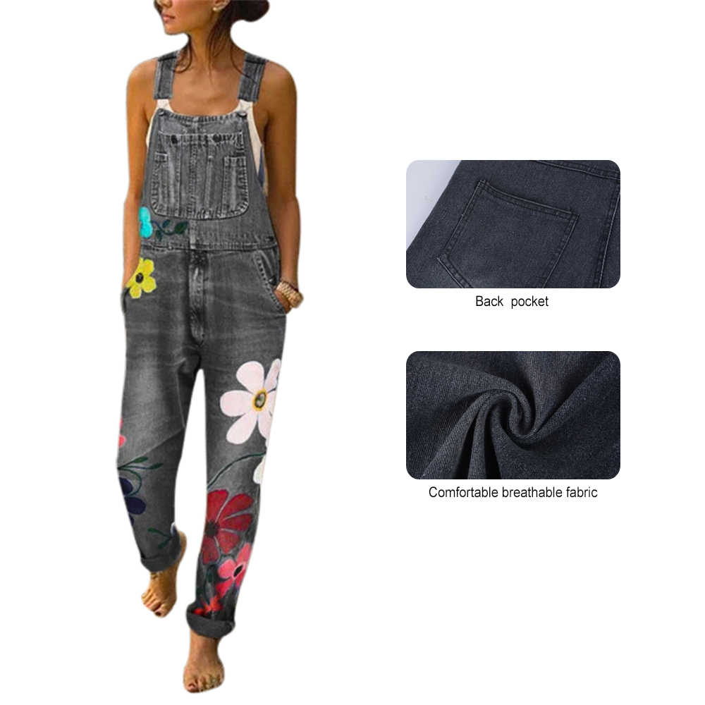 レディースフローラルプリントロングジーンズパンツ新女性デニムジーンズ春ストラップ洗浄ポケットオーバーオールよだれかけストレートズボン