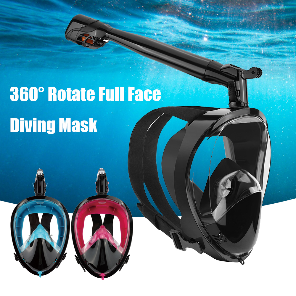 360 Degree Rotate Full Face Snorkeling Masks 180 View Anti-fog Anti-Leak Snorkel Scuba Underwater Diving Mask
