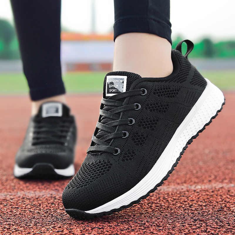 2020 mulheres sapatos casuais moda respirável sapatos de caminhada malha plana tênis ginásio vulcanizado tenis feminino fila