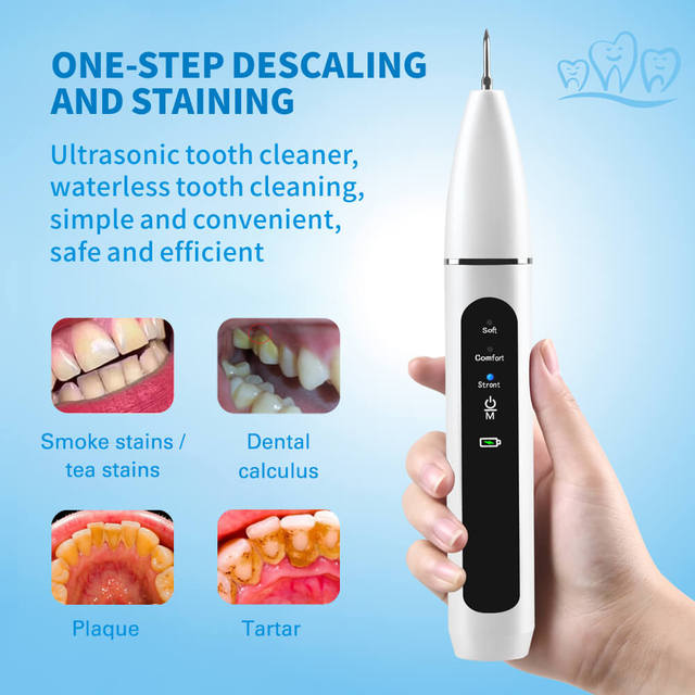New 3 Modes Ultrasonic Tooth Cleaner Portable USB Rechargeable  Removal of Calculus Waterproof Adults Teeth Whitening Household