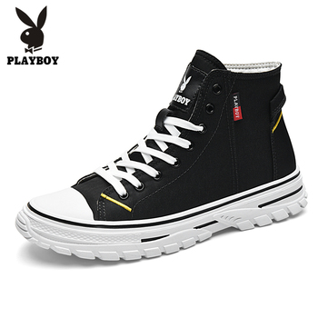 PLAYBOY New Men Canvas Shoes Casual High Top Military Tactical Boots Men Outdoor Fashion Men's Boots Mens Ankle Work Boots