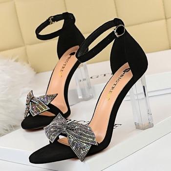 Rhinestone Open Toe  Block Heel Sandals 2