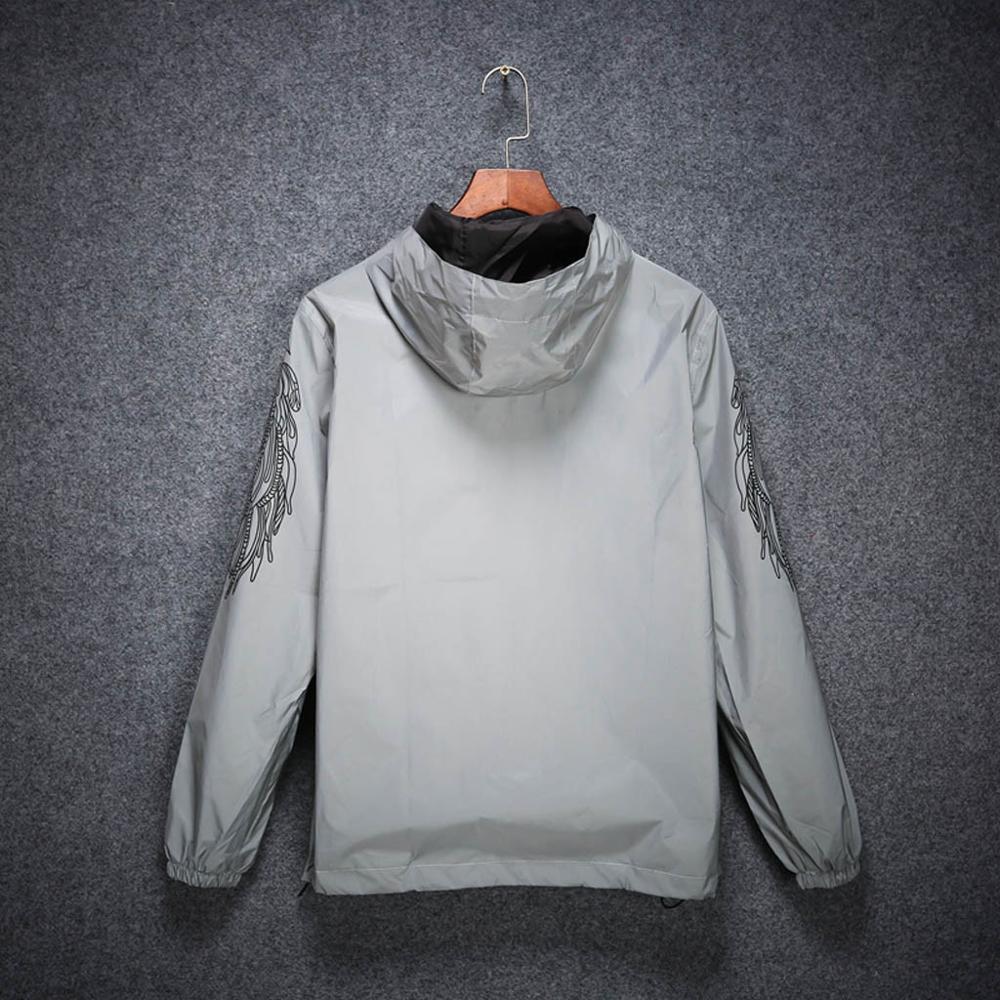 Printing Reflective Jacket Coat Hoodie Hooded Windbreaker Zip up Long sleeve