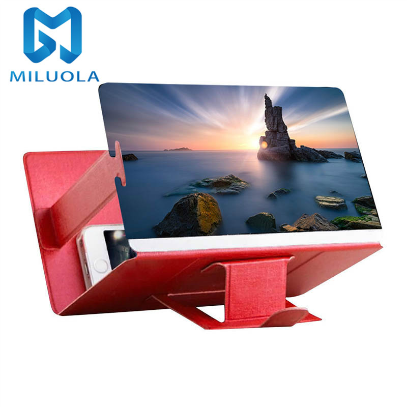 3D Mobile Phone Screen Magnifier Video HD Movies Amplifier PU Leather Foldable Portable Desktop Phone Holder Stand image