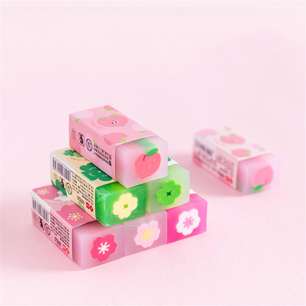 Gumki gumowe Kawaii miękkie kolorowe gumki słodkie owoce sztalugi trwałe elastyczne ołówek z gumką gumowe dla dzieci prezent