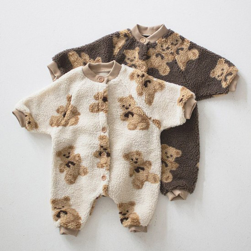 1447.0¥ 55% OFF|2020 Winter Thicken Warm Baby Rompers Bear Print Toddler Boys Jumpsuits Single Brea...