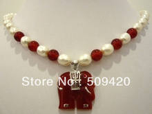 "~~ Gratis ShippingWhite parel & red stone ketting olifant hanger 18""(China)"