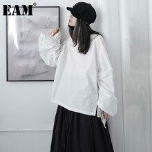 [EAM] femmes blanc cordon grande taille loisirs T-shirt nouveau col rond à manches longues mode marée printemps automne 2021 1DB364