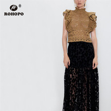 ROHOPO Knitted Hollow Out Floral Butterfly Shoulder Tops Semi Ruffled Turtle-neck Collar Back Buttons Fly Elegant Shirt #9353
