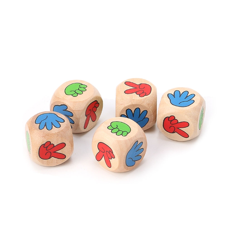 5pcs Drinking Game Rock Paper Scissors Finger-Guessing 20mm Wood Dice Bar Toys
