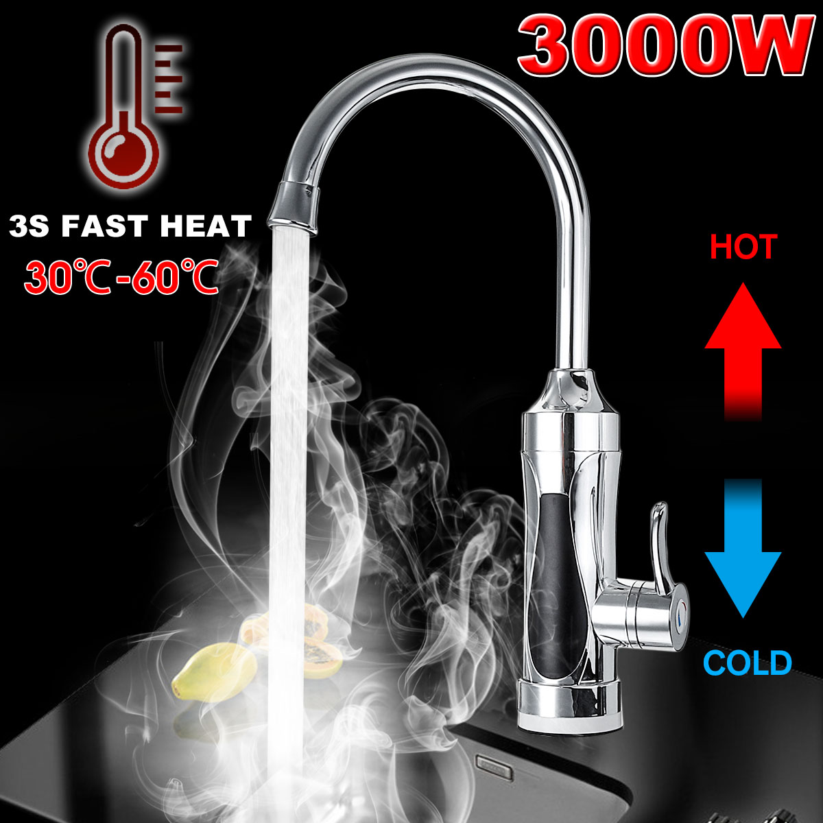 3S Electric Kitchen Water Heater Tap 3000WInstant Hot Water Faucet Heater Heating Faucet Tankless Instantaneous Water Heater
