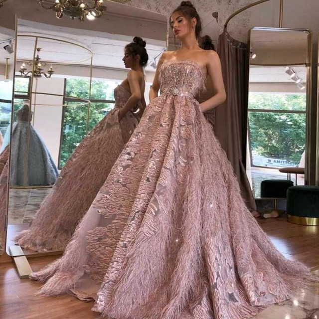 Evening Dresses Long A Line Appliques Sleeveless Pink Sexy Prom Gowns With Feather 2020 For Women Plus Size