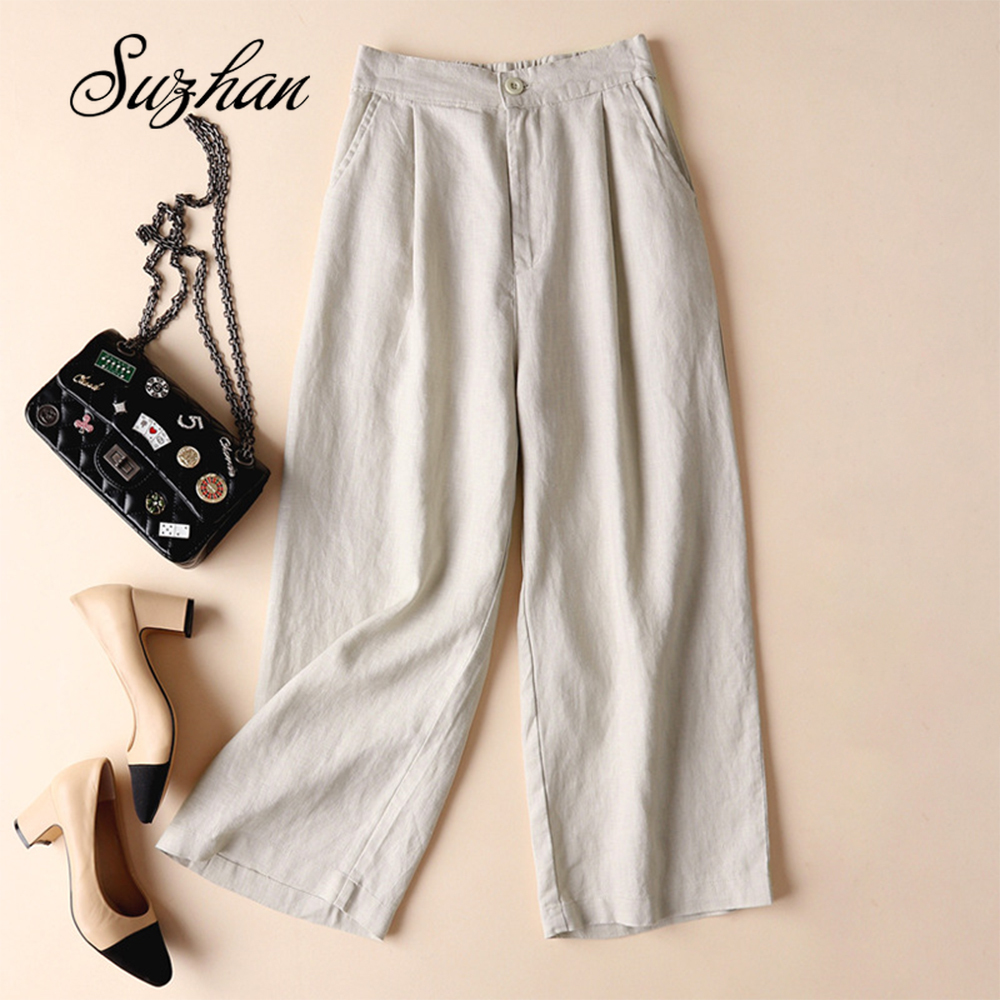 2019 New Spring Autumn Casual Straight Pants Women Female Drawstring Loose Knitted Wide Leg Pants Casual Trousers Office Pants