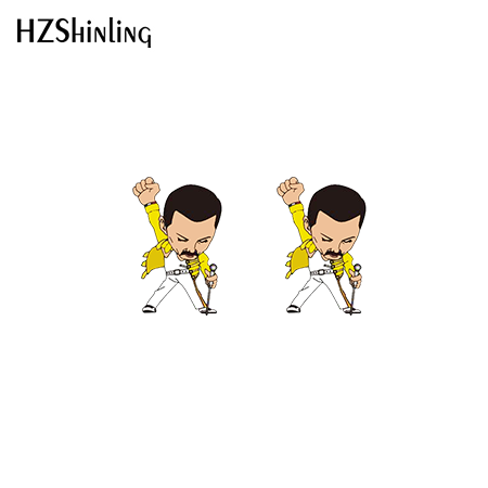 2020 New Rock and Roll Stud Earring Elvis Presley Acrylic Earrings Shrinky Dinks Earring Handmade Epoxy Jewelry