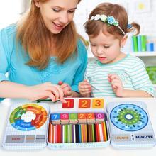 Деревянный набор с 50 МАГНИТНЫМИ КАРТАМИ детская развивающая игрушка деревянная математические числа игровые джойстики Развивающий Пазл игрушки