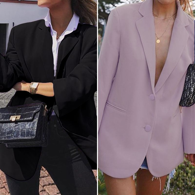 ZANZEA 2020 Fashion Turn Down Collar Blazers Plus Size Women Casual Solid Suits Female Solid Coats Jackets Long Sleeve Outwear