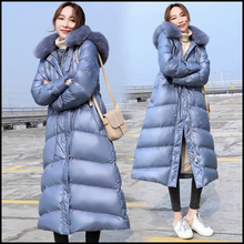 Warm Coat Women's Jacket Winter Long-Over-The-Knee Fashion 1X Slim Solid Fur-Collar Fox-Fur