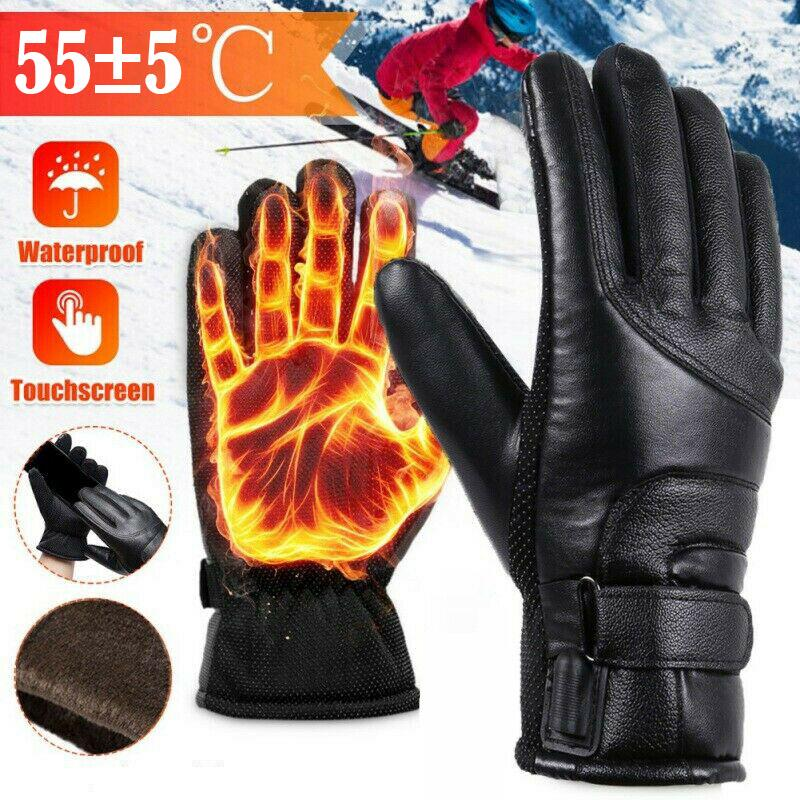 USB Heated Gloves Winter Thermal Hand Warmer Electric Heating Glove Battery Powered Thermal Waterproof For Motorcycle Ski Gloves