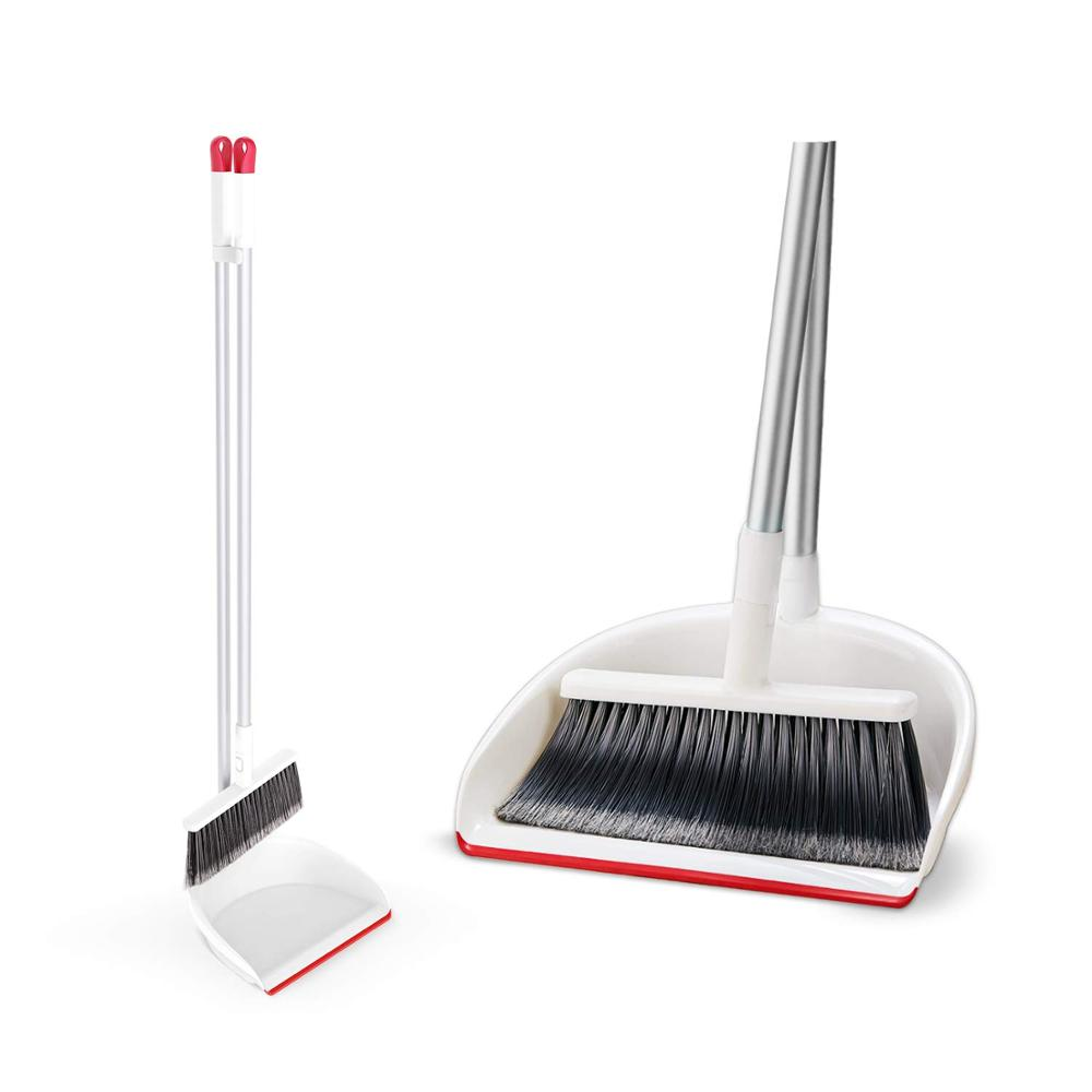 Eyliden Broom and Dustpan Eco Friendly Long Handle Broom Dustpan Set for Home Kitchen Classroom Office Interior Cleaning